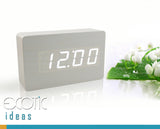White Oak Wood Clock with White LED Display, 3 Set Alarms, Time, Date, Temperature, Sound Control