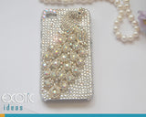 3D Fine Crystal Rhinestone Apple  iPhone 4S / iPhone 4 Skin Case Cover - White Crystal Peacock  with Clear Crystal Base