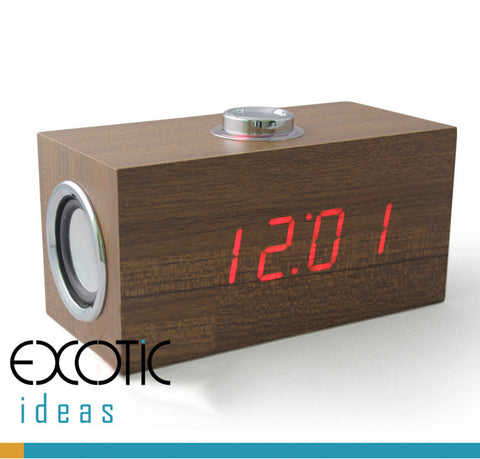 Wooden Desk Alarm Clock Red LED Time / Date Display with Speaker Built-in