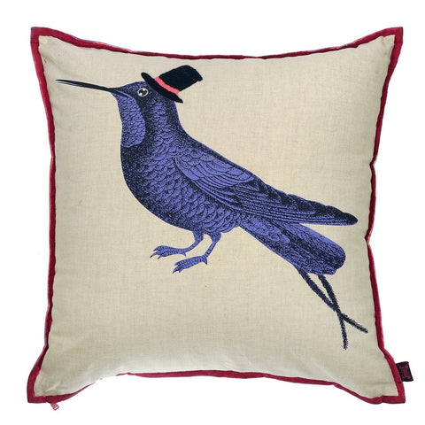 Blackbird embroidered cushion