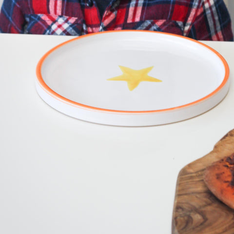 Ceramic children's plate - orange and yellow