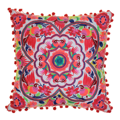 Acapulco embroidered cushion - coral