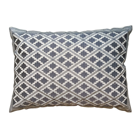 Timbuktu embroidered cushion - grey