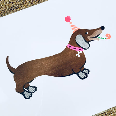 Party dachshund print