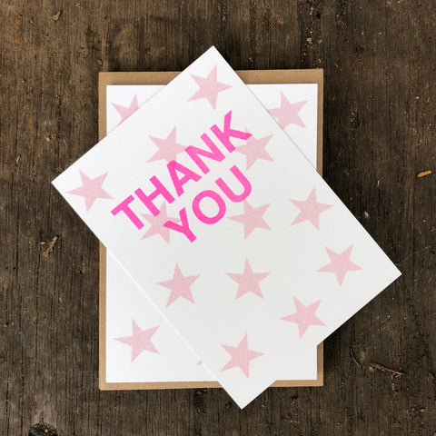 Thank you cards - pink star