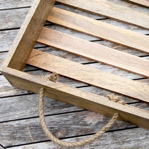 Mango wood tray - slatted