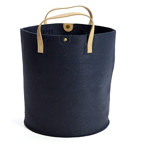Navy felt storage basket