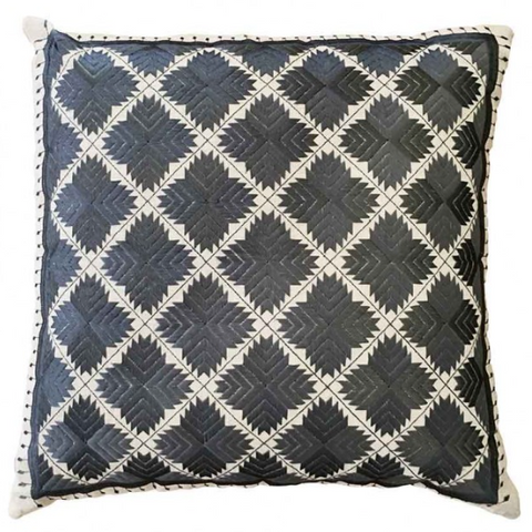 Phulkari embroidered cushion - grey