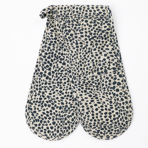 Navy animal print double oven glove