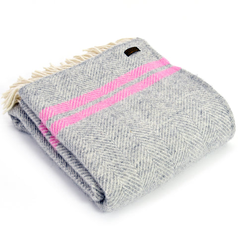 Grey and pink throw