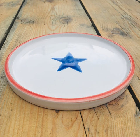 Ceramic children's plate - red and blue