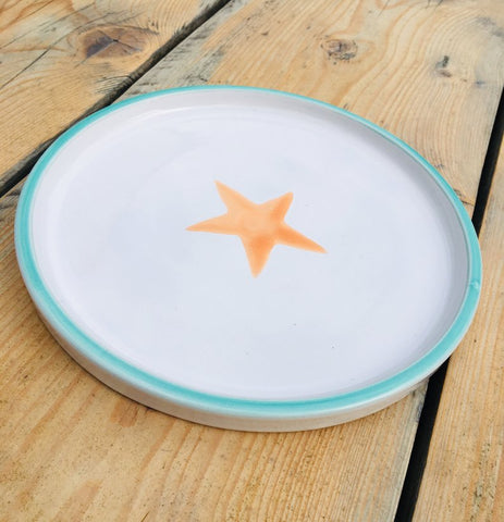 Ceramic children's plate - turquoise and orange