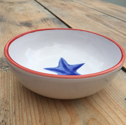 Ceramic children's bowl - red and blue
