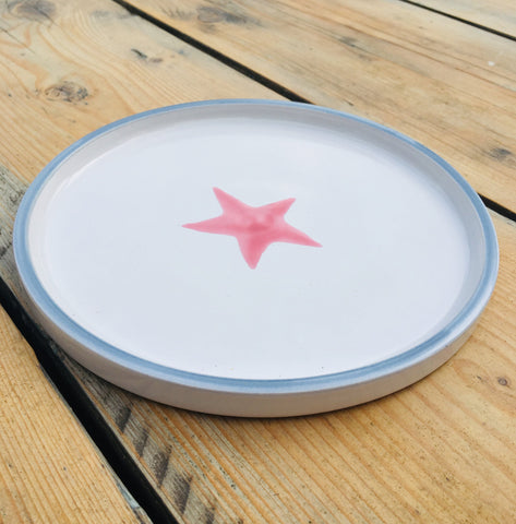 Ceramic children's plate - pink and grey