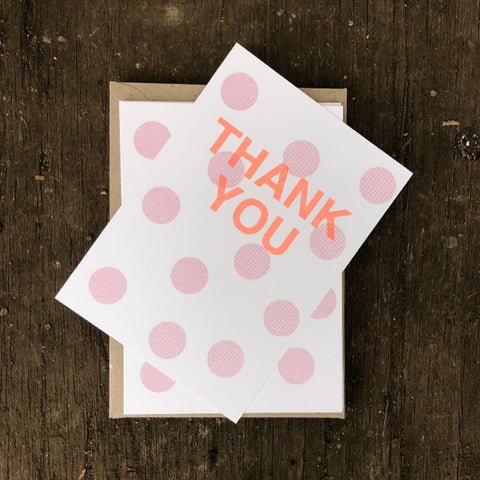 Thank you cards - pink spot