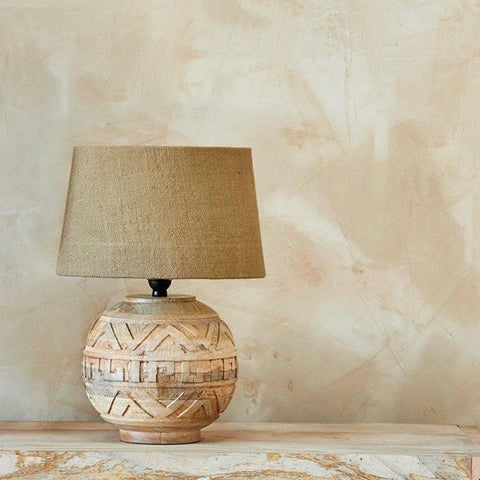 Mango wood lamp - round