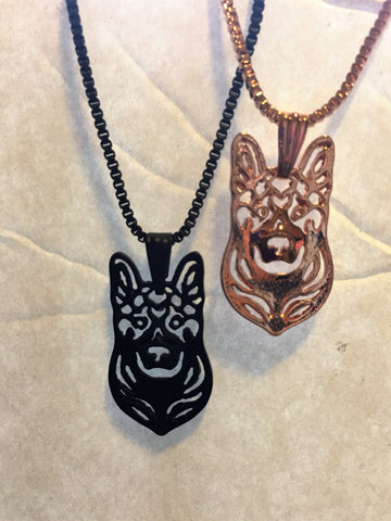 German Shepherd Head charm Necklace