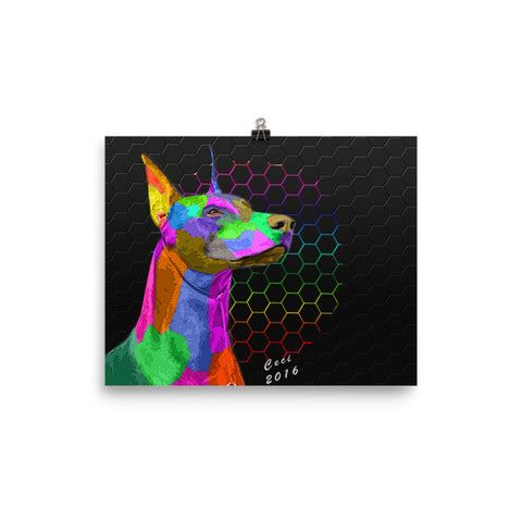 Doberman Pinscher Unique Art!! Photo paper poster