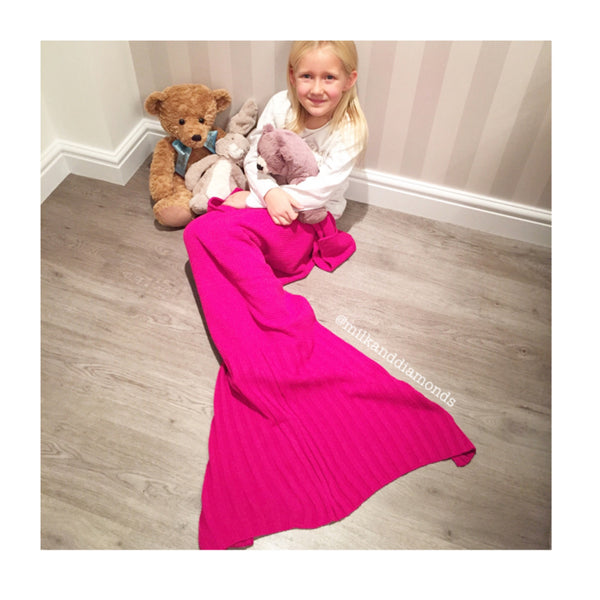 Kids Ariel Mermaid Tail Blanket - Pink