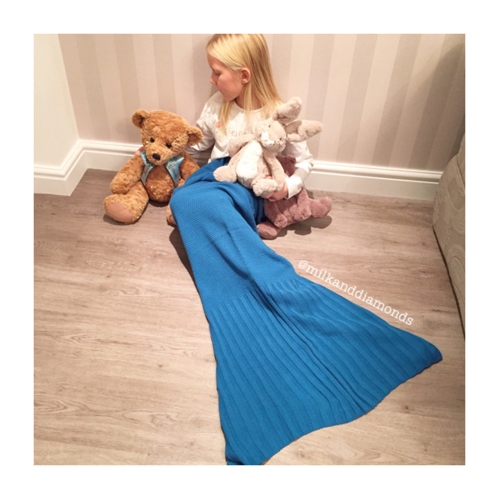 Kids Ariel Mermaid Tail Blanket - Teal