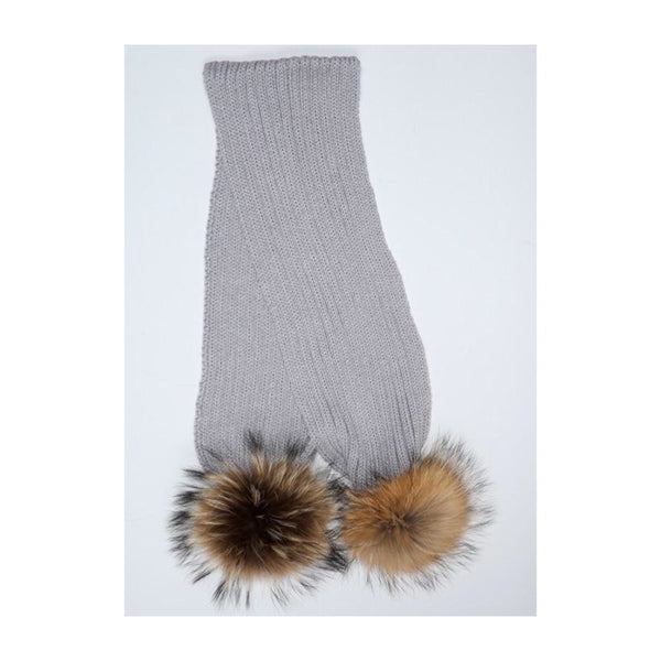 Mini Milk Pom Pom Scarf - Elephant Grey