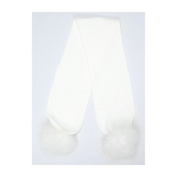 Mini Milk Pom Pom Scarf - Snow White with White