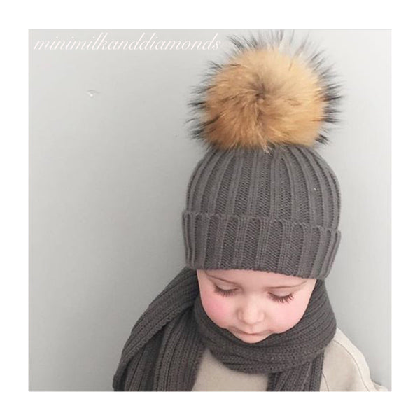 Mini Milk Pom Pom Hat - Charcoal