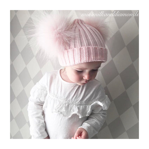 Mini Milk Twin Pom Pom Hat - Candyfloss Pink
