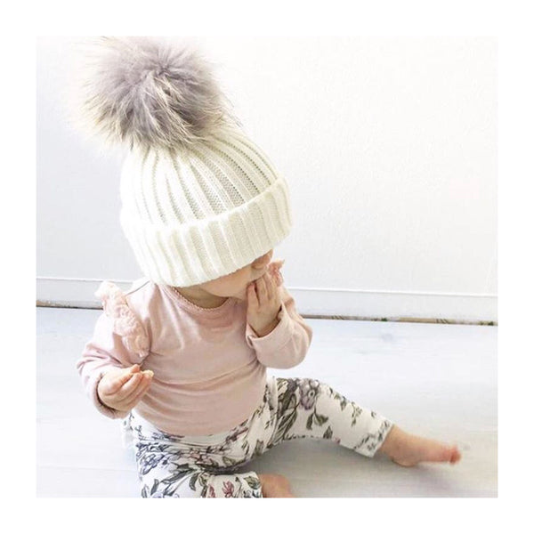 Mini Milk Pom Pom Bobble Hat - Creamy White