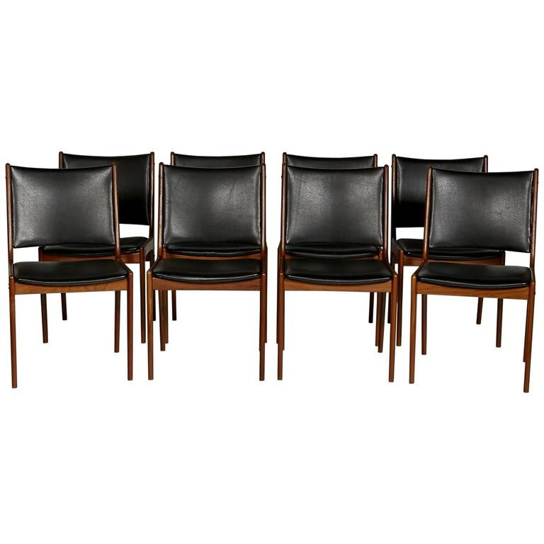 New Inventory: Set of 8 Vintage Teak Dining Room Chairs