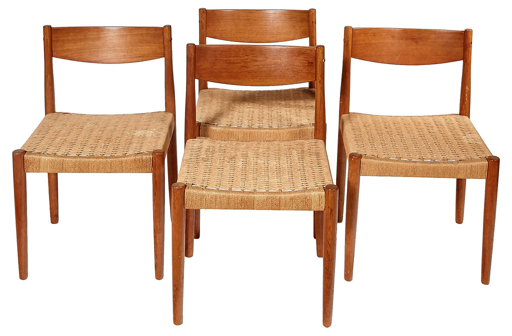 Saturday Feature: Vintage Danish Teak & Papercord Dining Chairs - Set of 4