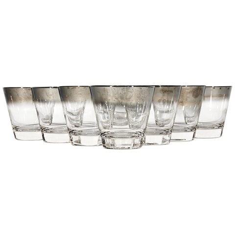 Vintage silver fade old fashioned glass bar tumblers