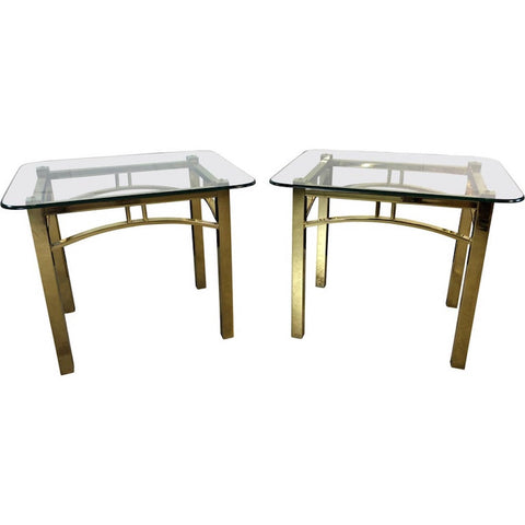 Hollywood Regency Style Brass & Glass Side Tables, Pair