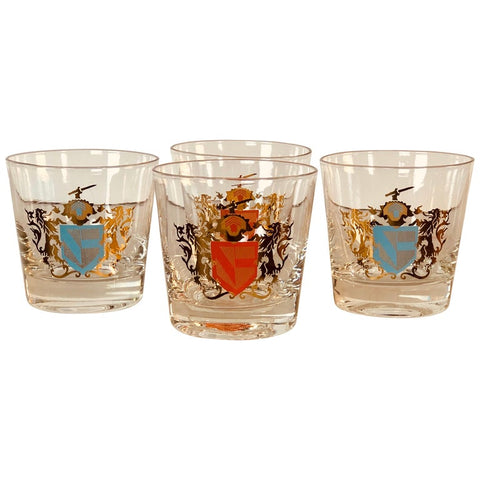 Vintage Coat of Arms Bar Glass Tumblers, Set of 4