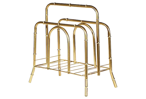 1960s Gilt Metal Bamboo Magazine Rack