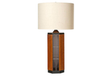 1970s Smoked Glass & Wood Table Lamp