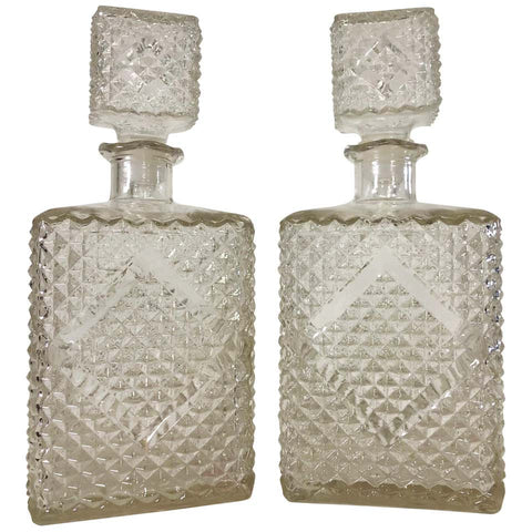 Vintage 1960s Diamond Accented Glass Decanters, Pair