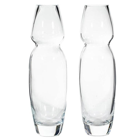 Handblown Ovoid Tall Vases for Marquis by Waterford, Pair
