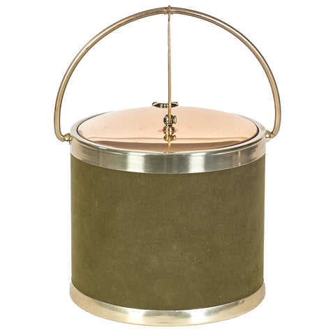1960s Green & Gilt Round Ice Bucket
