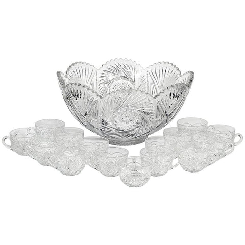 Heisey Glass Co. Glass Punch Bowl Set
