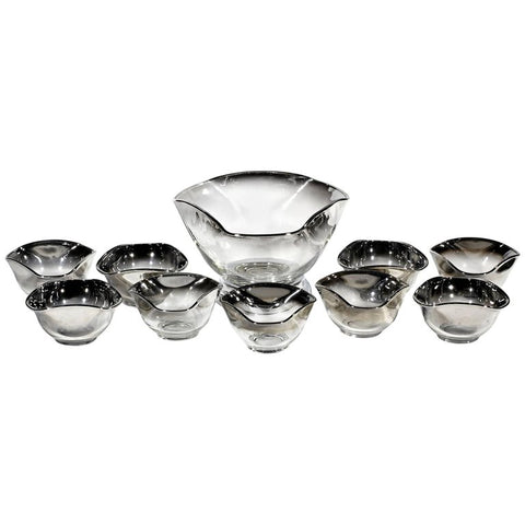 Mid 20th Century Modern Silver Fade Serving Bowl Set