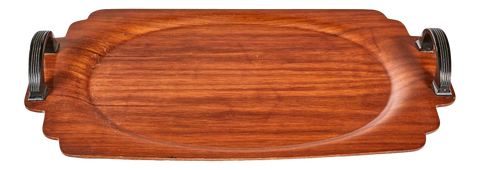 Art Deco Walnut Wood Handled Tray
