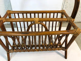 1960s Rattan Handled Magazine Rack