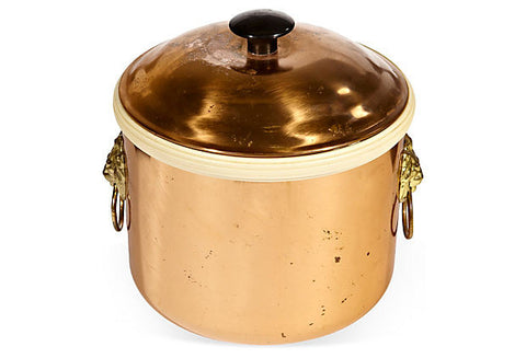 Lion Accented Cooper Ice Bucket