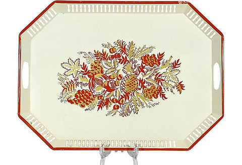 Fruit Painted Handled Serving Tray