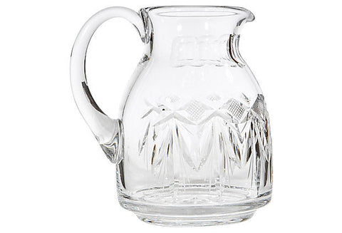 1950s Wheel Cut Glass Pitcher
