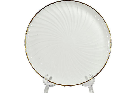 1950s French White & Gilt Accented Large Plate