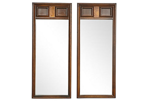 1960s Square Designed Wall Mirrors, Pair