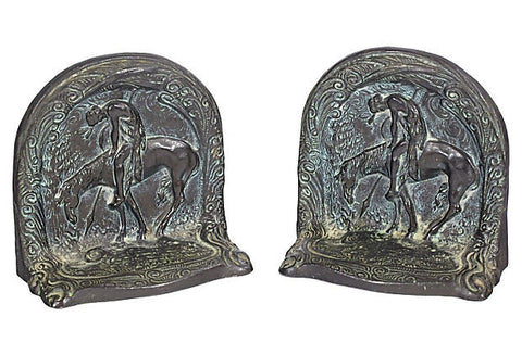 1930s Indian on Horse Bookends, Pair