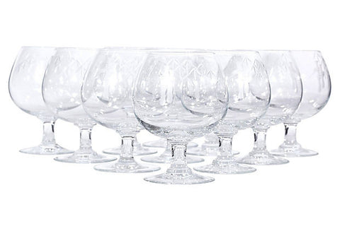 1960s Bamboo Etched Brandy Snifters, Set of 11